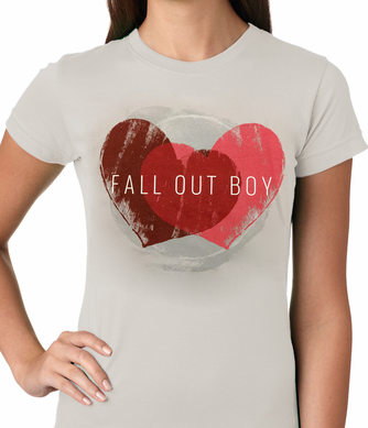 Official Fall Out Boy Weathered Hearts Ladies T-Shirt (Light Grey)