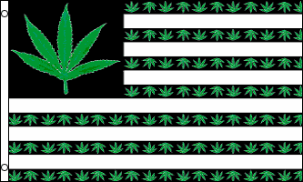 3 x 5 Foot Pot Leaves and Stripes Flag