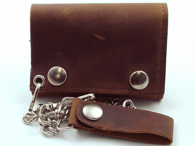 Distressed Brown Leather Chain Wallet
