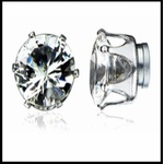 7MM Pair of Round Cut Clear Cubic Zirconia Magnetic Earrings