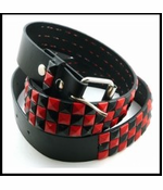 Genuine Leather Belt With Red & Black Pyramid Studs