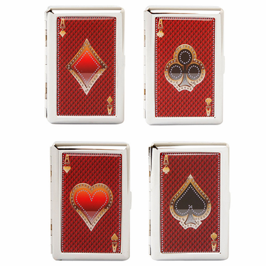 Aces Playing Cards Cigarette Case For Regular Size and 100's