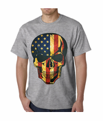 Distressed American Flag Skull T-shirt