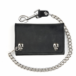 Extra Large Black Leather Tri-Fold Wallet With Skull Snaps & 12 Inch Chain