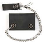 Black Leather Tri-Fold Wallet Iron Cross Snaps & 12 Inch Chain