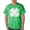 Men's Tie Dye T-Shirt with Vintage Distressed 4 Leaf Clover