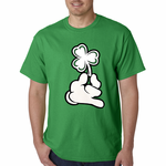 St. Patrick's Day Cartoon Hand Holding Shamrock Men's T-Shirt