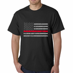 Firefighter Thin Red Line American Flag - Support Firefighter Department Horizontal Men's T-shirt