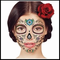 Glitter Day of the Dead Floral Face Temporary Tattoo