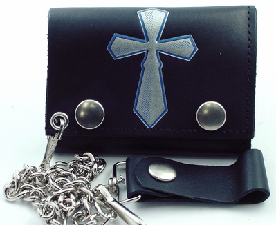 Silver Cross Leather Chain Wallet