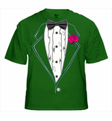 Mens Kelly Green Ruffled Tuxedo T-Shirt With Pink Rose