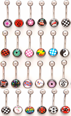 Logo Belly Rings (6 Pack Assorted)