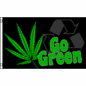 3 x 5 Foot Go Green Pot Leaf Flag