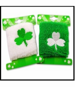 Pair of St. Patrick's Day Good Luck Clover Wrist Bands