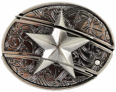 Star Belt Buckle With Hidden Knife And Free Belt