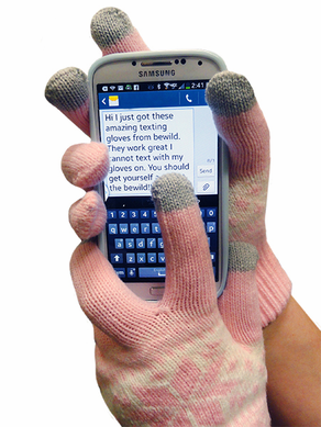 Cell Phone Texting Gloves Lt. Pink SnowFlake