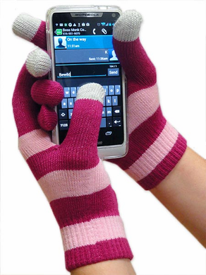 Cell Phone Texting Gloves Two-Tone Pink