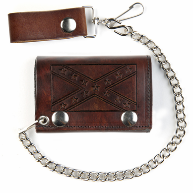 Genuine Brown Leather Tri-fold Chain Wallet