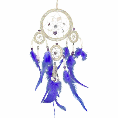 Large Quartz Beaded Dream Catcher Blue Feathers