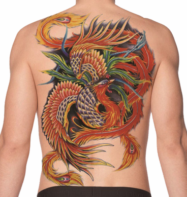 Full Back Temporary Tattoo - Feather Dragon