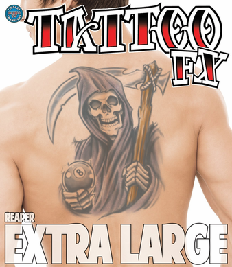 Full Back Temporary Tattoo - Biker Reaper with Eight Ball