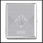 Chrome Cigarette Case with Pot Leaf Pattern King Size