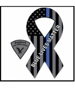 Thin Blue Line Flag Blue Lives Matter Ribbon Magnet