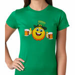 Irish St. Patrick's Day Drinking Leprechaun Emoji Women's T-shirt