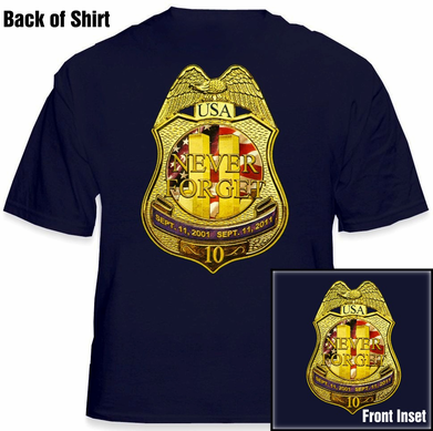 9/11 10th Anniversary Twin Towers WTC Memorial Never Forget Police Badge / Shield T-Shirt