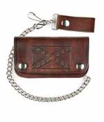 Extra Large Antique Brown Leather Biker Wallet With 12 Inch Chain