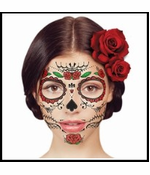 Glitter Day of the Dead Red Rose Face Temporary Tattoo