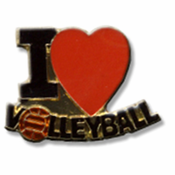 I Love Volleyball Lapel Pin