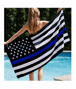 Thin Blue Line Flag Support Police Beach Towel
