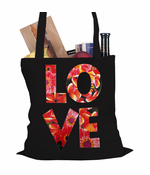 Love Floral Pattern Tote Bag