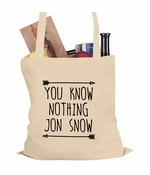 (Black Print) You Know Nothing Jon Snow Tote Bag