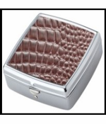 Brown Croc Chrome Plated Square Pill Box