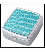 Teal Croc Chrome Plated Square Pill Box