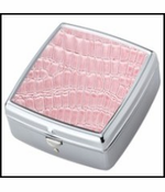 Pink Croc Chrome Plated Square Pill Box