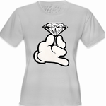 Cartoon Hand With Diamond Women's T-Shirt