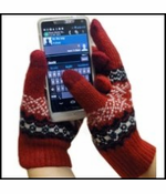 Cell Phone Texting Gloves Red SnowFlake