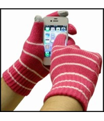 Cell Phone Texting Gloves Pink/White Stripes