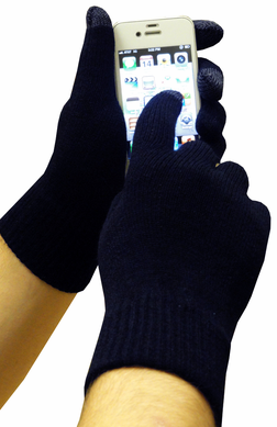 Cell Phone Texting Gloves Navy Blue