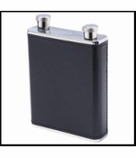 10oz Stainless Steel Flask with Black and Brown Wrap