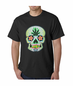 Pot Leaf Sugar Skull Men's T-Shirt