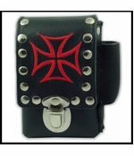 Iron Cross Leather Cigarette & Lighter Case For Regular Size & 100's)