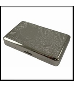 Floral Engraved Chrome Cigarette Case (Regulars & 100's)