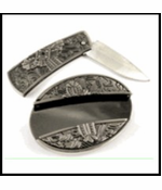 Cross Belt Buckle With Hidden Knife And Free Belt