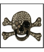 Cyclops Skull & Crossbones Rhinestone Belt Buckle With FREE Leather Belt