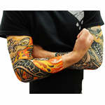 Tattoo Sleeves - Skull And Flames Biker Fake Tattoo Sleeves (Pair)