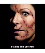 Special Effects Stapled and Stitched Face Tattoo